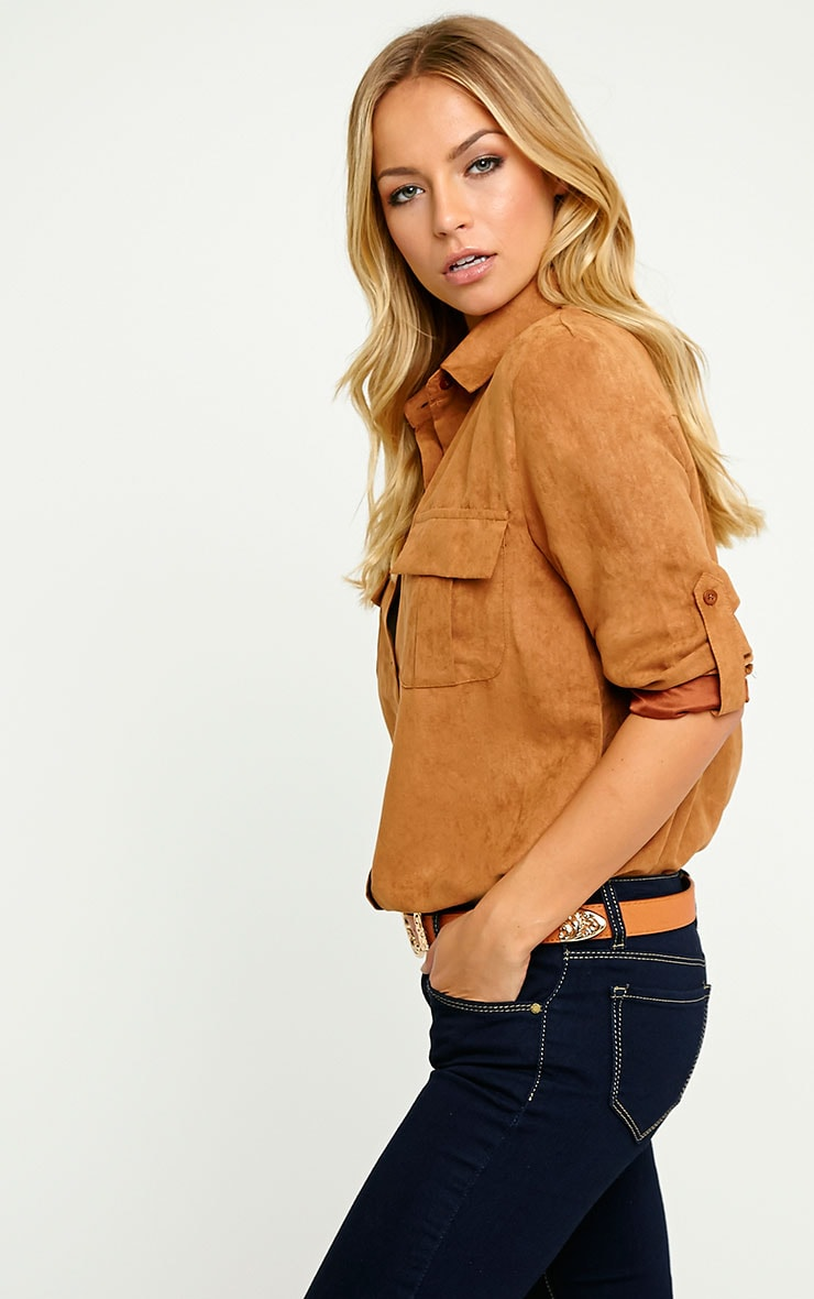 Blithe Camel Faux Suede Oversized Shirt 4