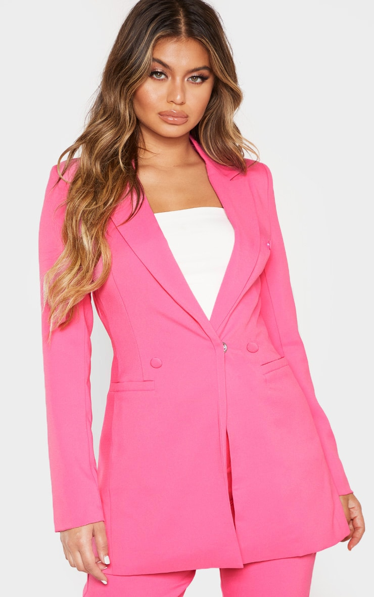 Bubblegum Pink Double Breasted Woven Blazer 2