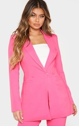 Bubblegum Pink Double Breasted Woven Blazer 2