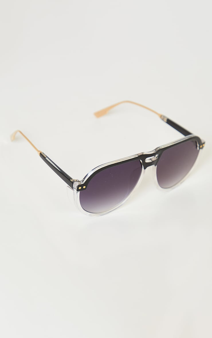 Black Ombre Double Bar Round Frame Sunglasses 3