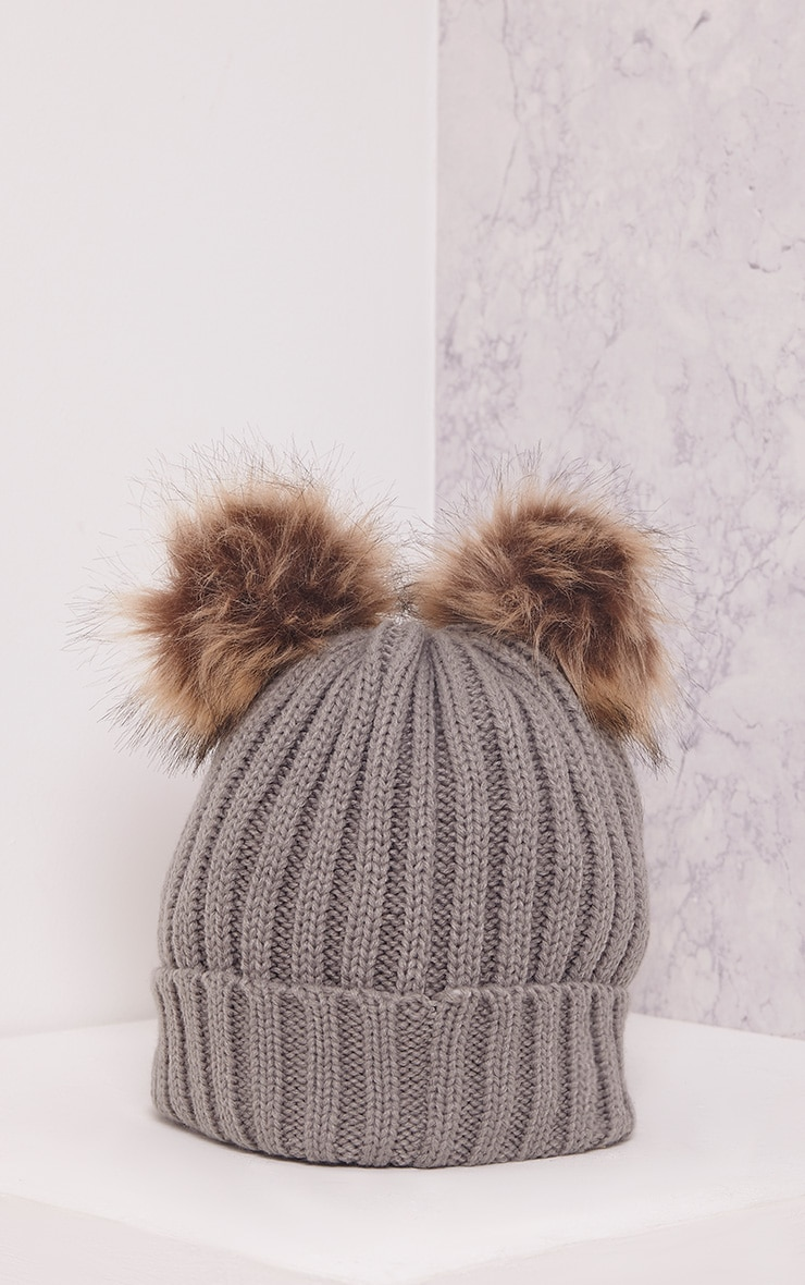 Tilda Grey Knitted Double Pom Pom Beanie 3
