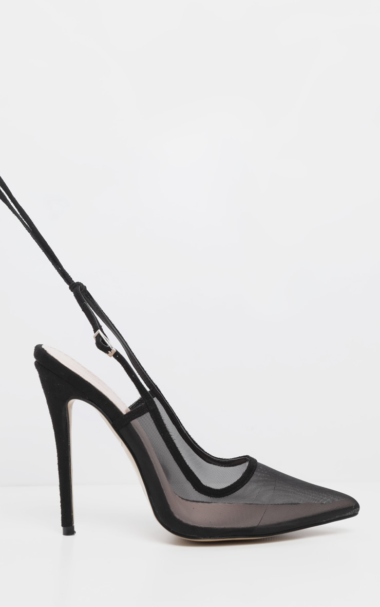 Black Mesh Ankle Tie Court Shoe 3