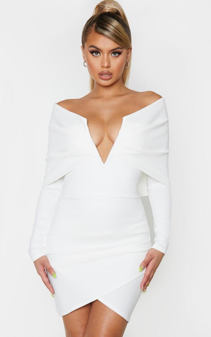 White Bardot V Bar Detail Wrap Shoulder Bodycon Dress 1