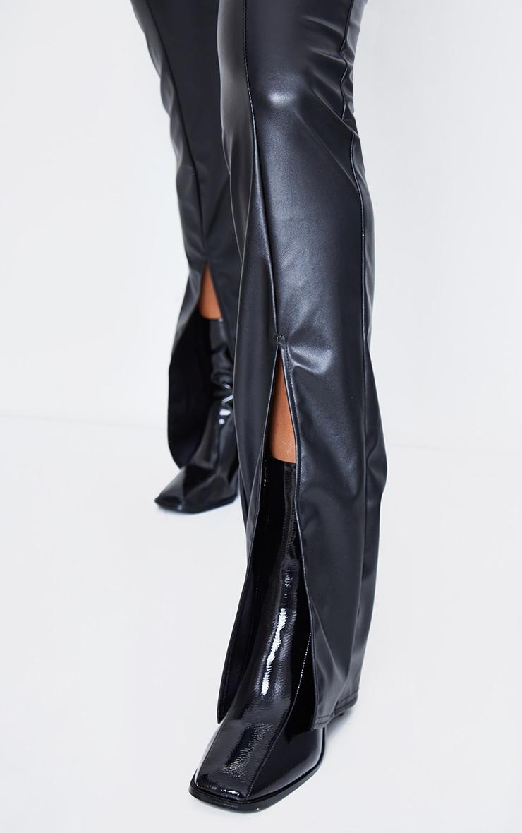 Black Faux Leather Seam Detail Split Hem Pants 5