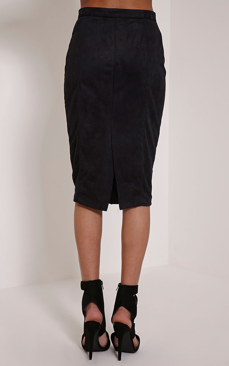 Meemee Black Button Front Suede Midi Skirt 4
