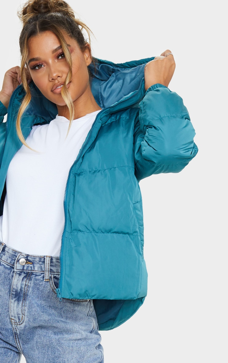 Mineral Blue Puffer Contrast Hooded Jacket 5