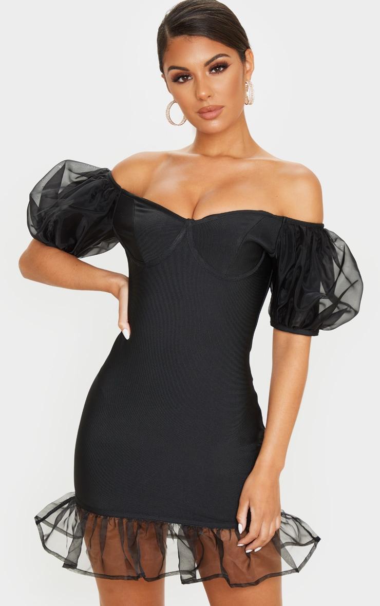 Black Bandage Chiffon Frill Puff Sleeve Bodycon Dress 1