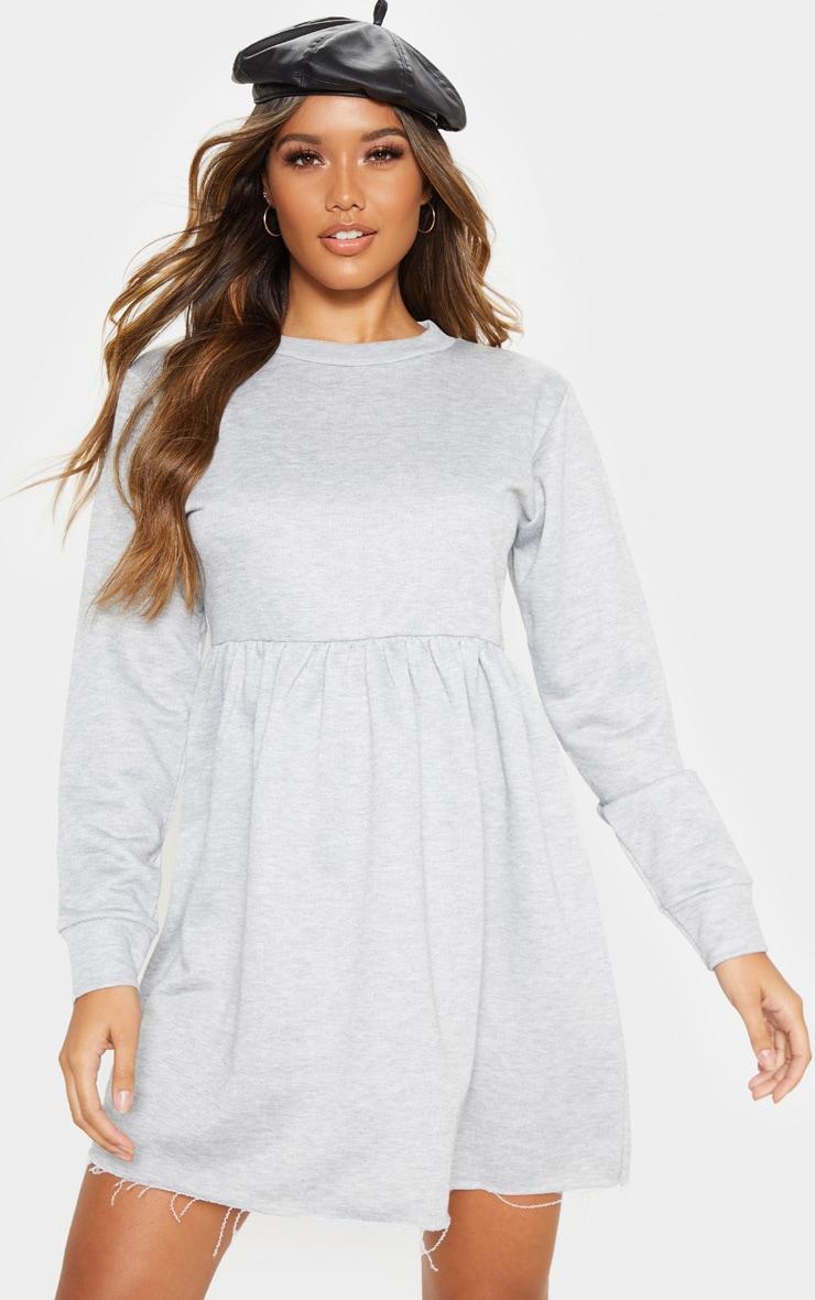 Grey Sweat Long Sleeve Smock Dress 4