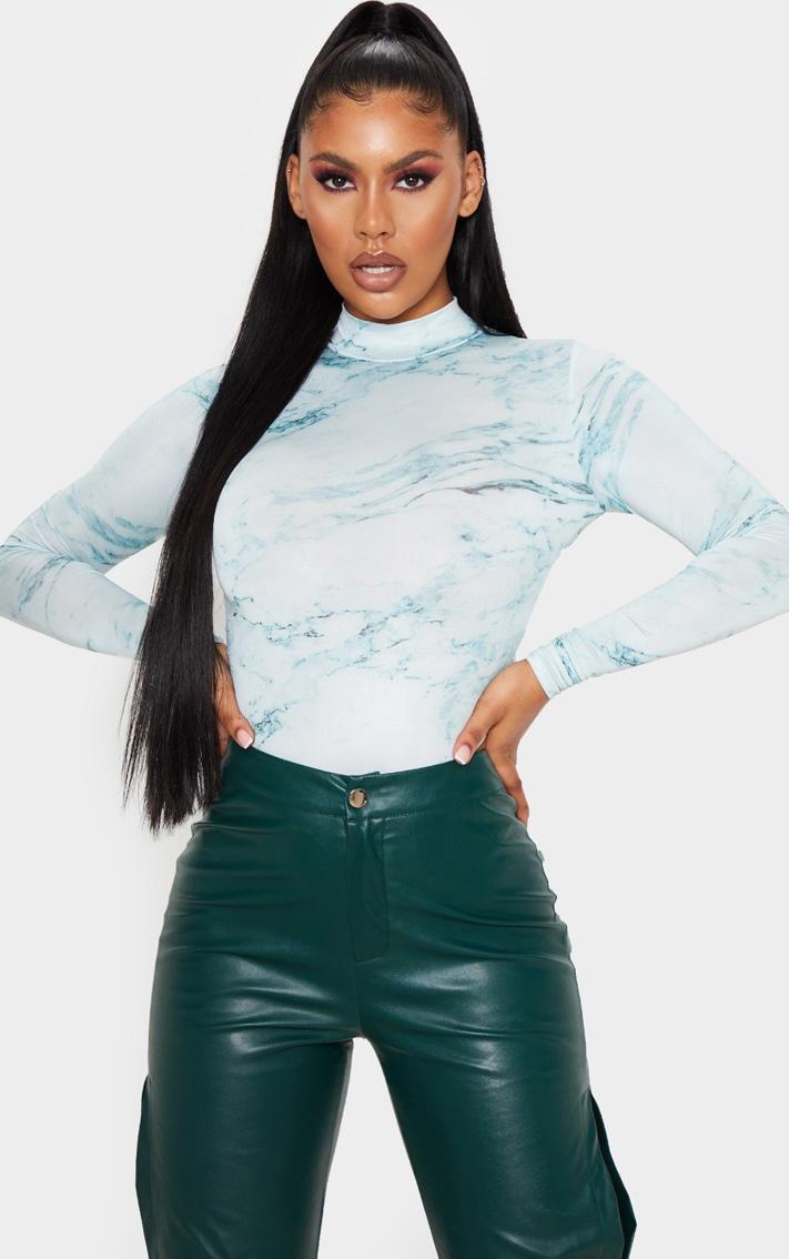 Green Marble Printed High Neck Bodysuit 1