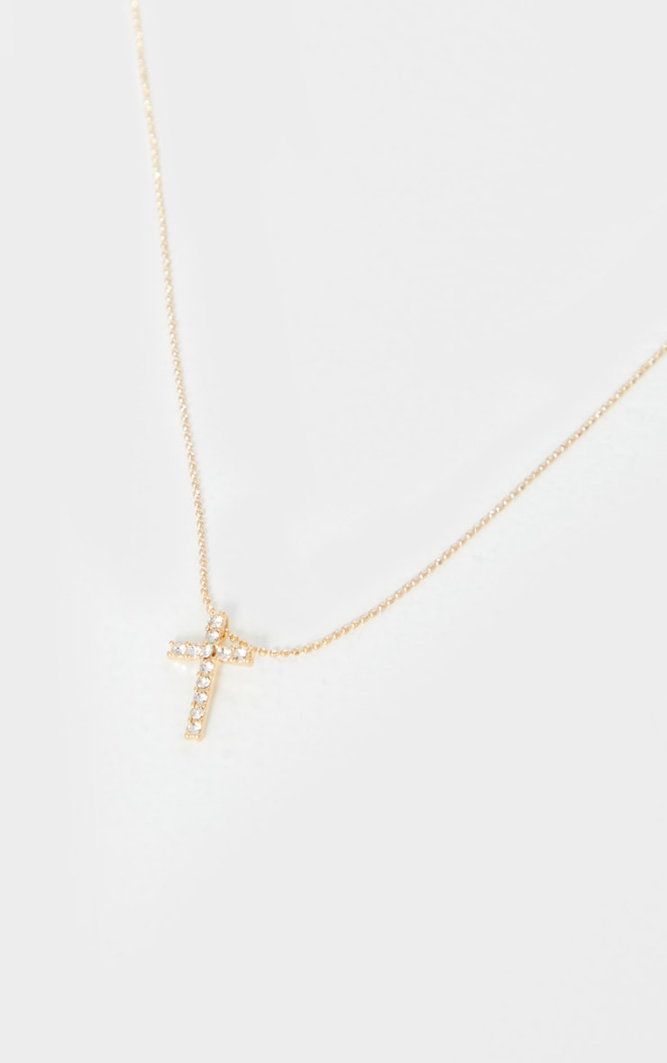 Gold Diamante Mini Cross Necklace 4