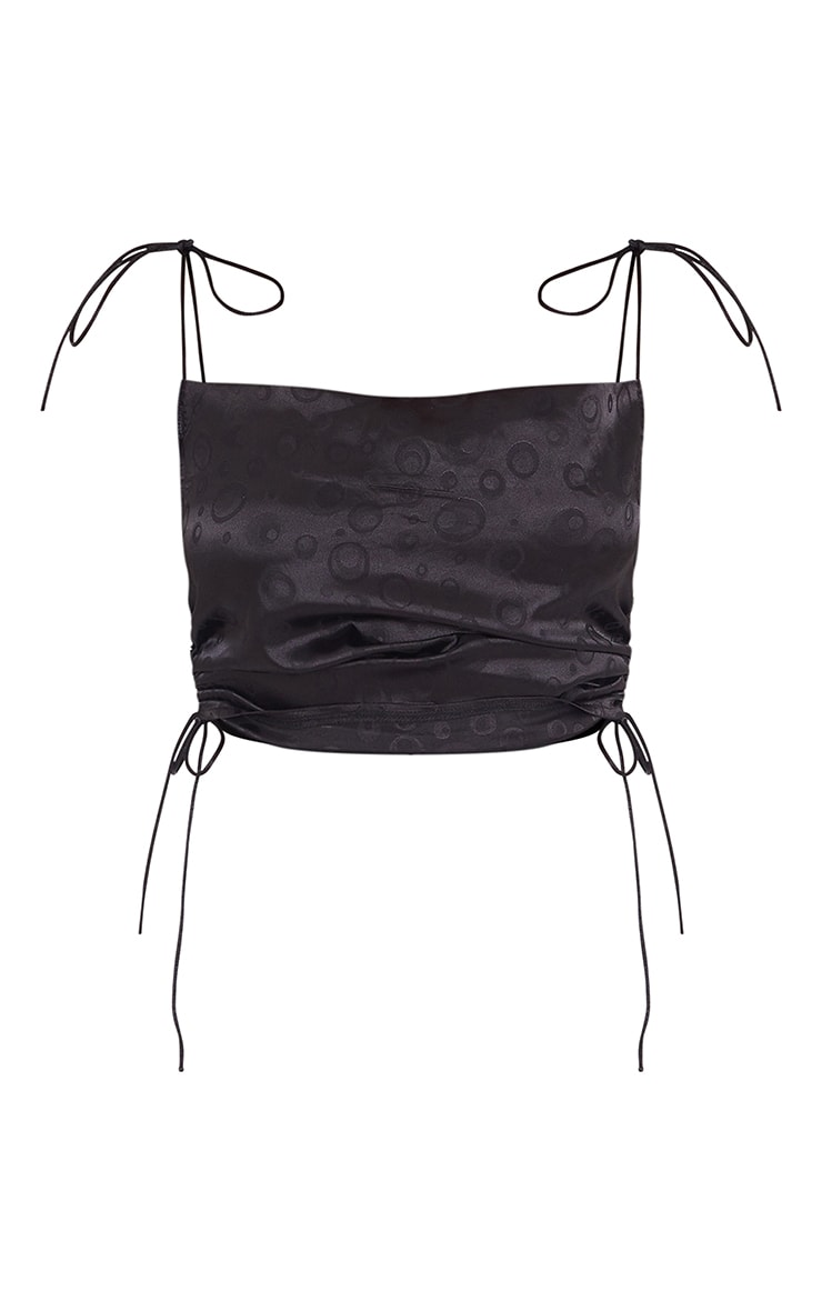 Black Jacquard Satin Ruched Strappy Crop Top 5