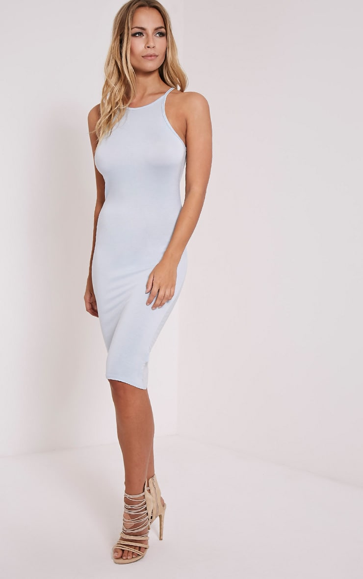 Basic Powder Blue Thin Strap Racer Neck Jersey Midi Dress 3