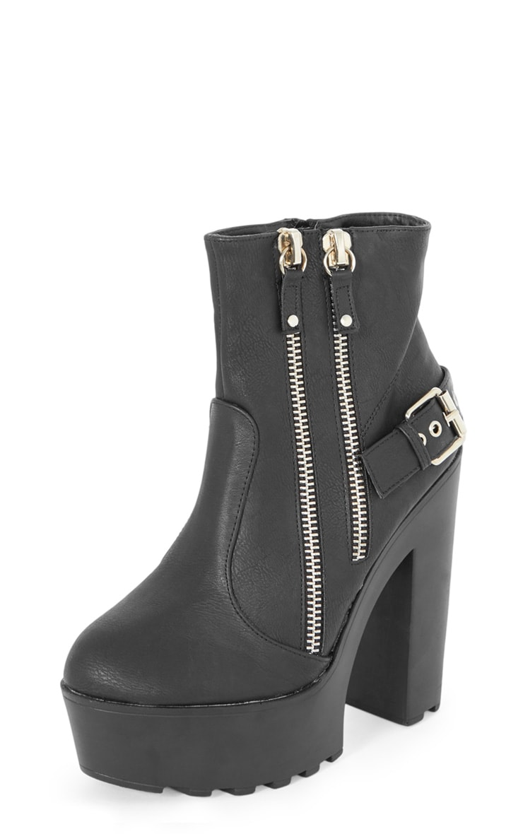 Sani Black Zip Up Cleated Sole Biker Boot 6