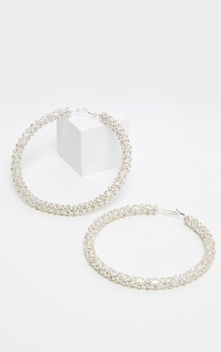 Silver Diamante Studded Larger Hoops 2