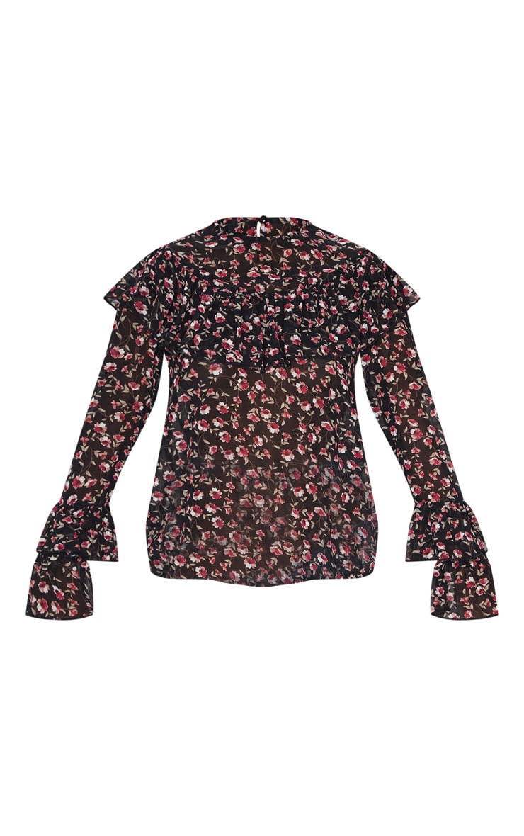 Petite Black Floral Frill Detail Long Sleeve Blouse 3