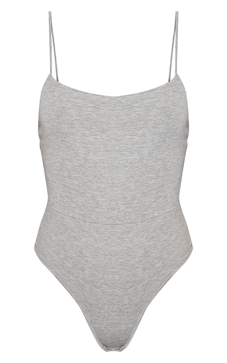 Basic Grey Square Neck Thong Bodysuit 3