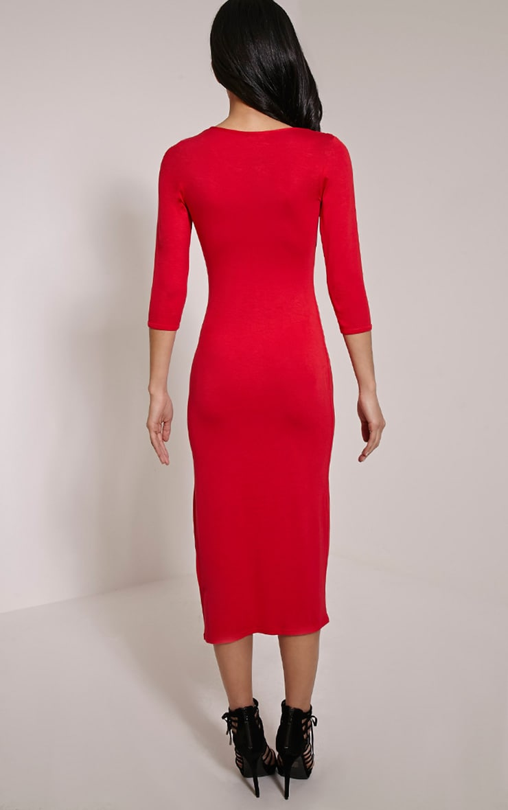 Basic Red Long Sleeve Midi Dress 2