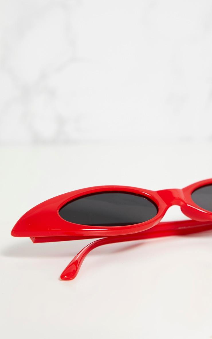 Red Matte Thin Retro Sunglasses 4