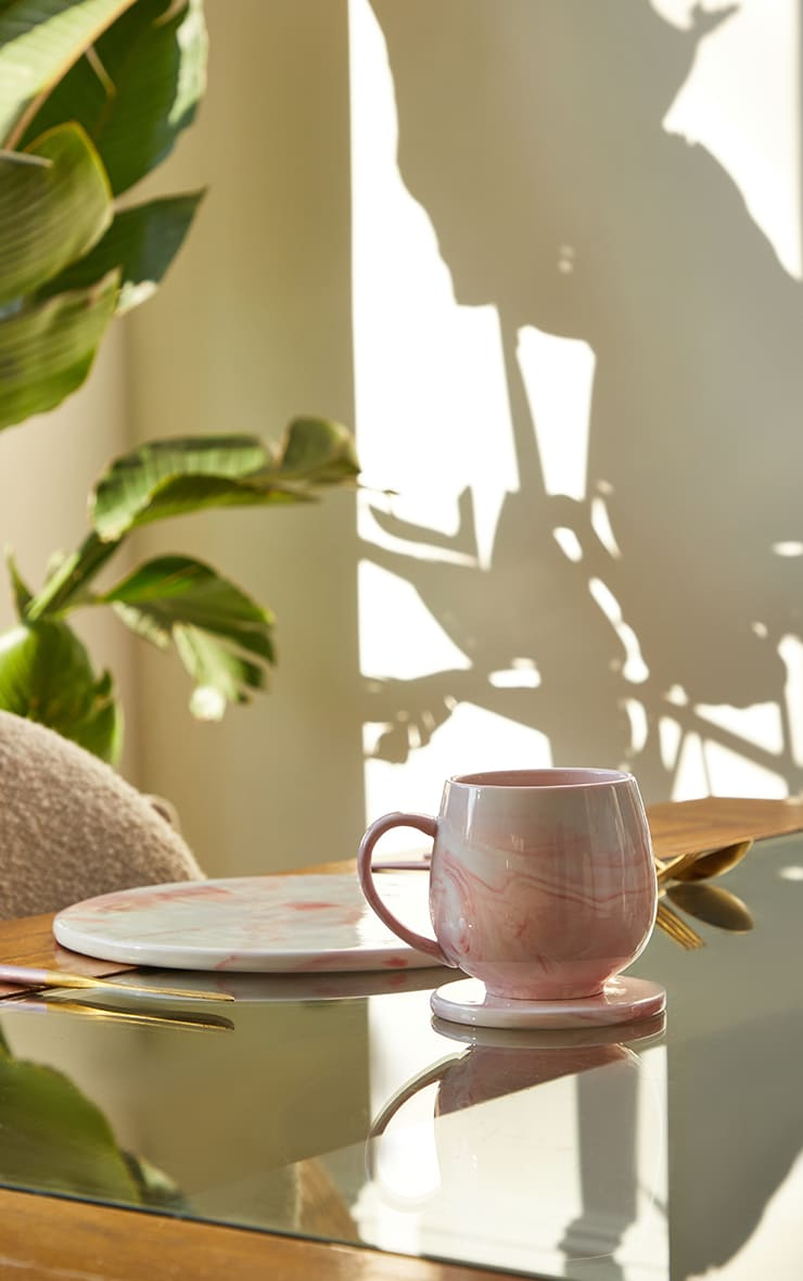 Pink Marble Print Mug 2