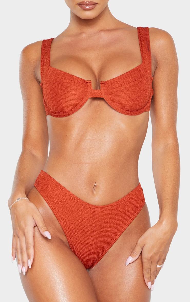 Brown Mini Crinkle Cheeky Bum Bikini Bottom 1