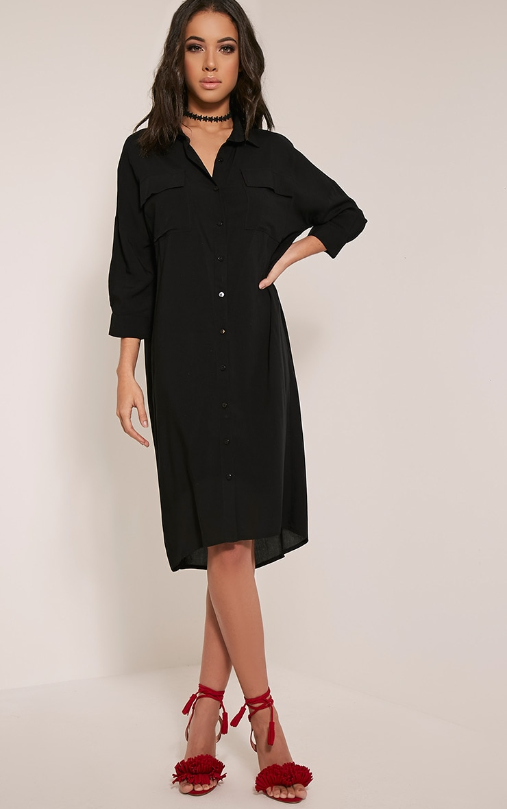 Perrin Black Longline Shirt Dress 1