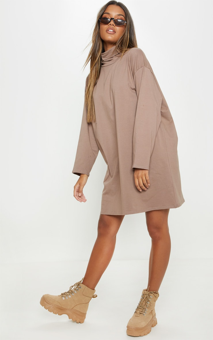 Mocha High Neck Long Sleeve T Shirt Dress