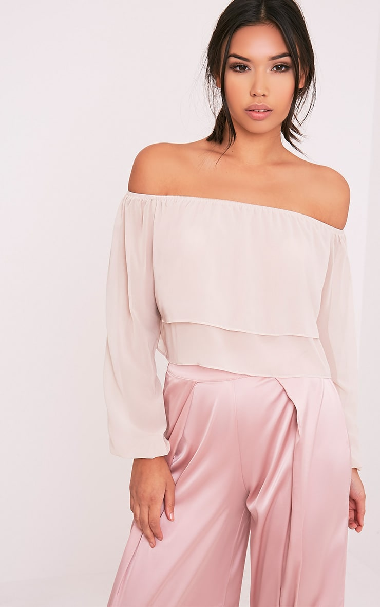 Lella Cream Ruffle Bardot Crop Top 1