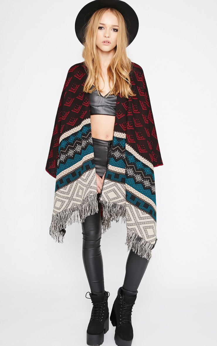 Melissa Multi Print Knitted Tassel Poncho -One Size 4