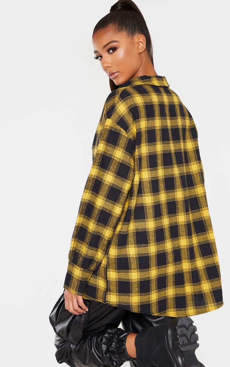 Yellow Checked Oversized Shirt 2