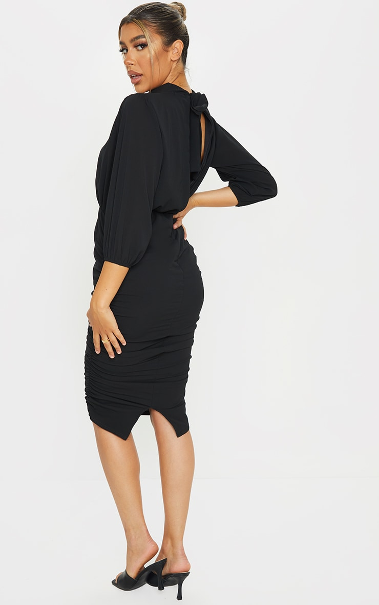 Black Chiffon High Neck Ruched Midi Dress 2
