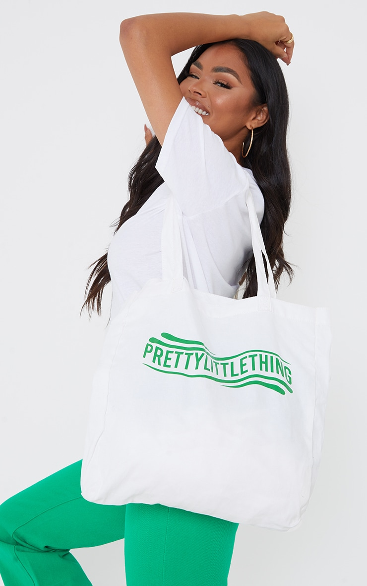 PRETTYLITTLETHING Green Wave Tote Bag 1