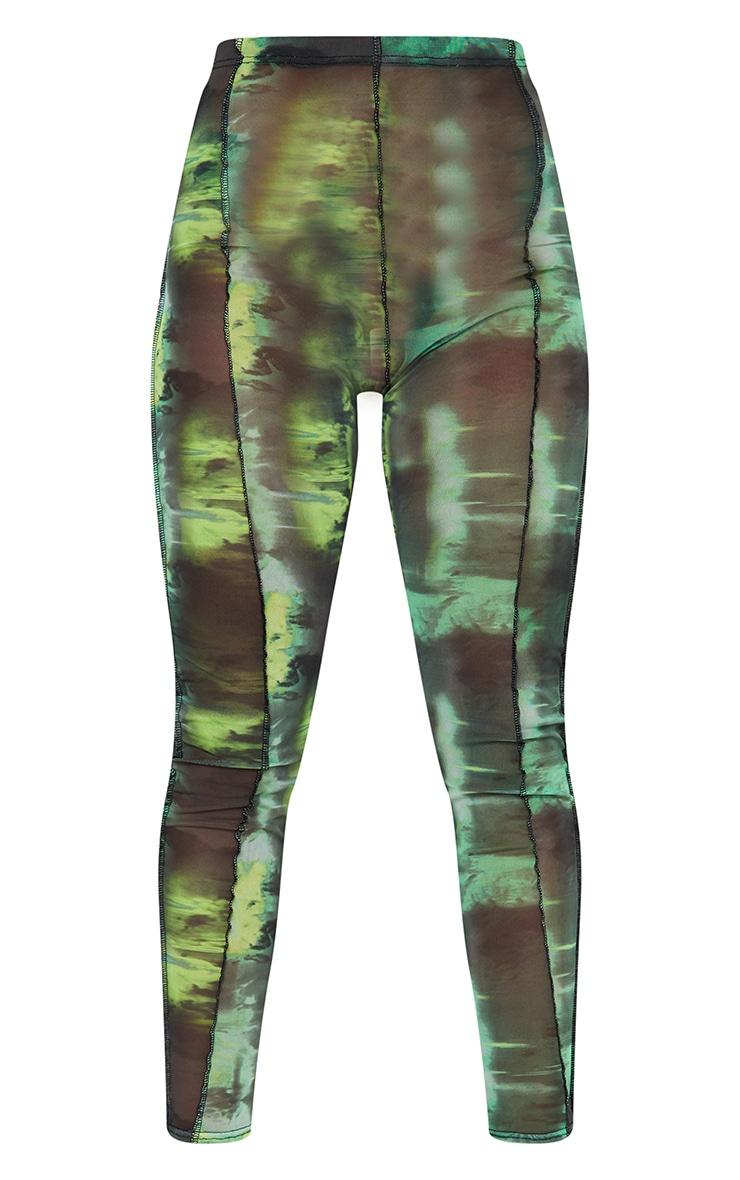 Green Abstract Water Colour Print Sheer Mesh Binding Long Sleeve Crop Top 5