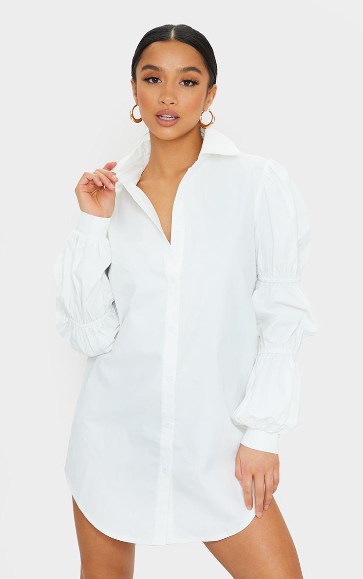 Petite White Ruched Sleeve Oversized Shirt Dress