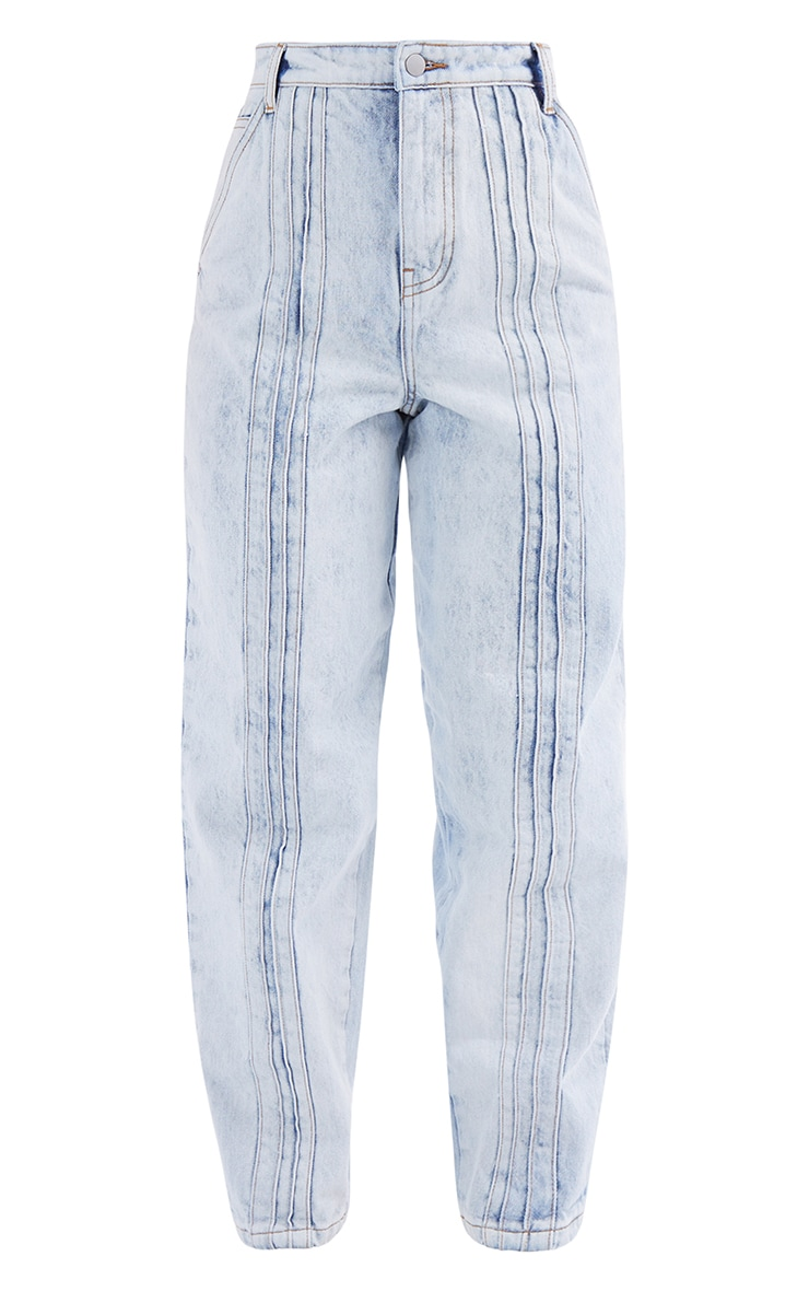 Acid Blue Wash Seam Detail Jeans 5