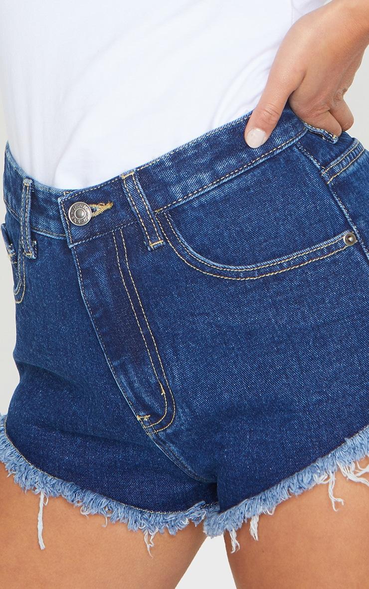 Petite Dark Blue Wash Frayed Hem Denim Shorts 5