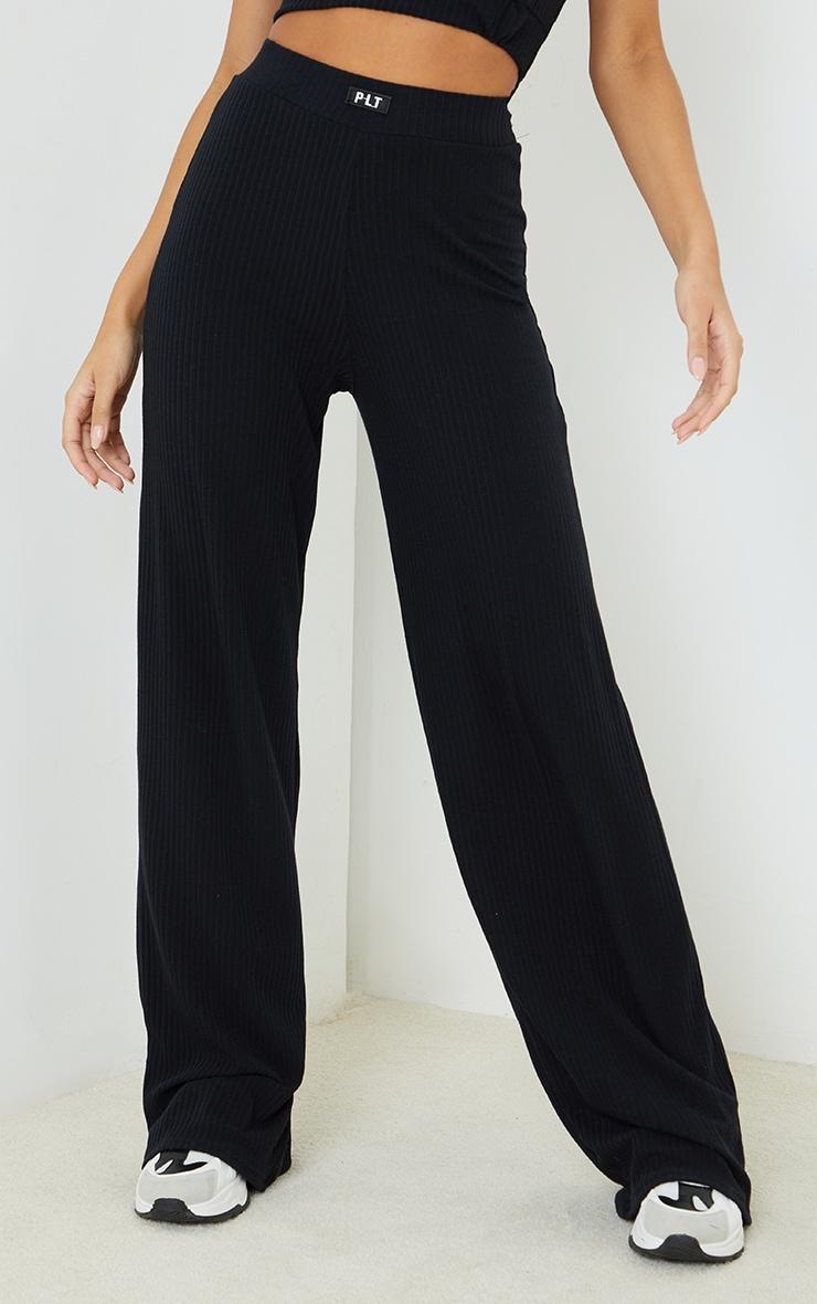 PRETTYLITTLETHING Black Badge Detail Rib Wide Leg Trousers 2