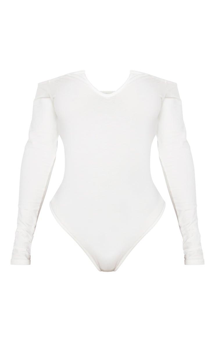 Shape Cream Bardot V Neck Bodysuit 3