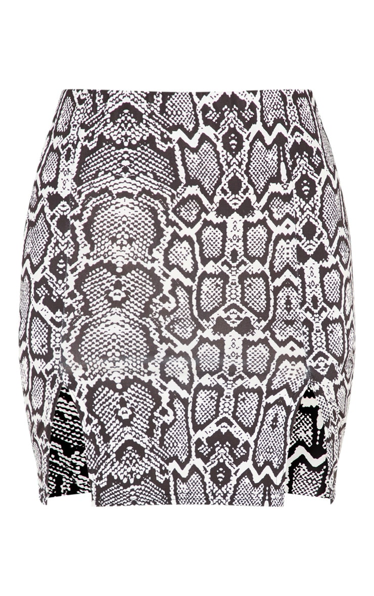Monochrome Slinky Snake Print Double Split Mini Skirt 3