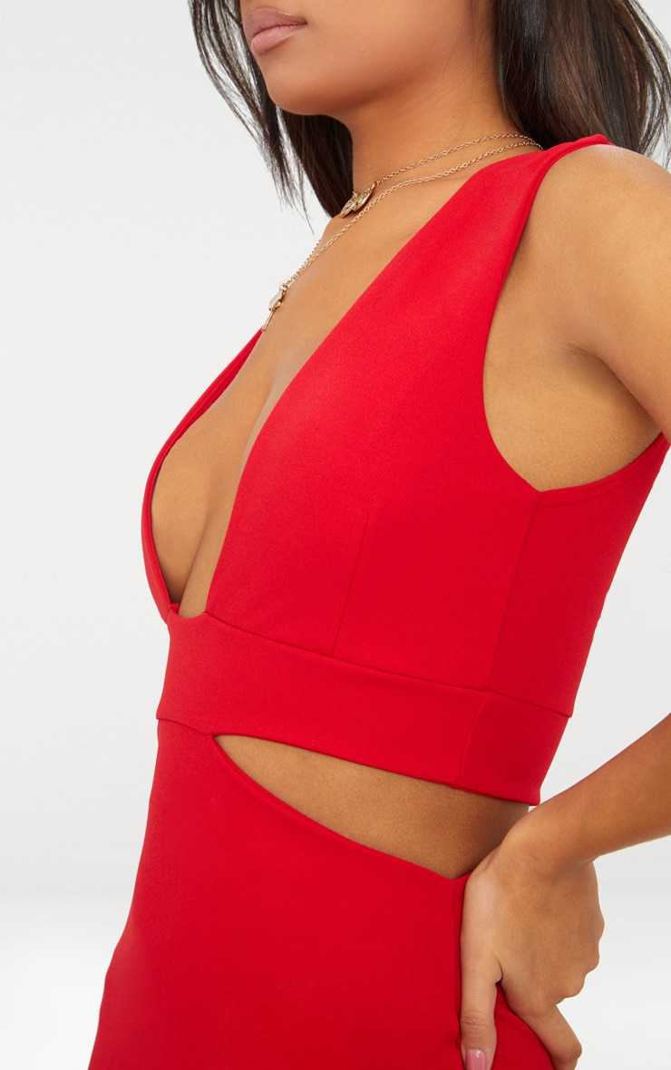 Red Plunge Cut Out Side Midi Dress 5