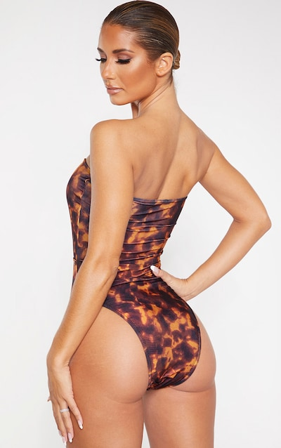 Brown Tortoise Print Ring Center Cut Out Swimsuit