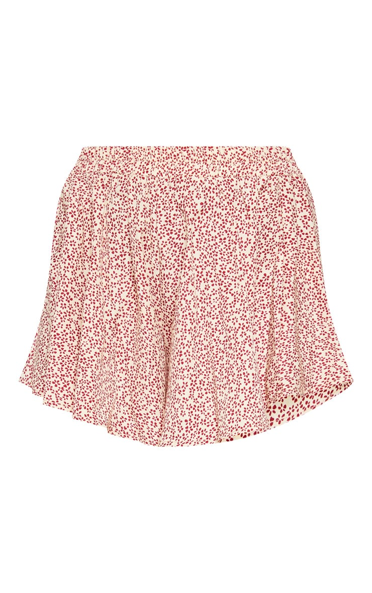 Cream Ditsy Floral Print Floaty Short 3