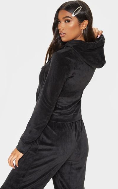 Black Mix & Match Velour Zip Up Hoodie
