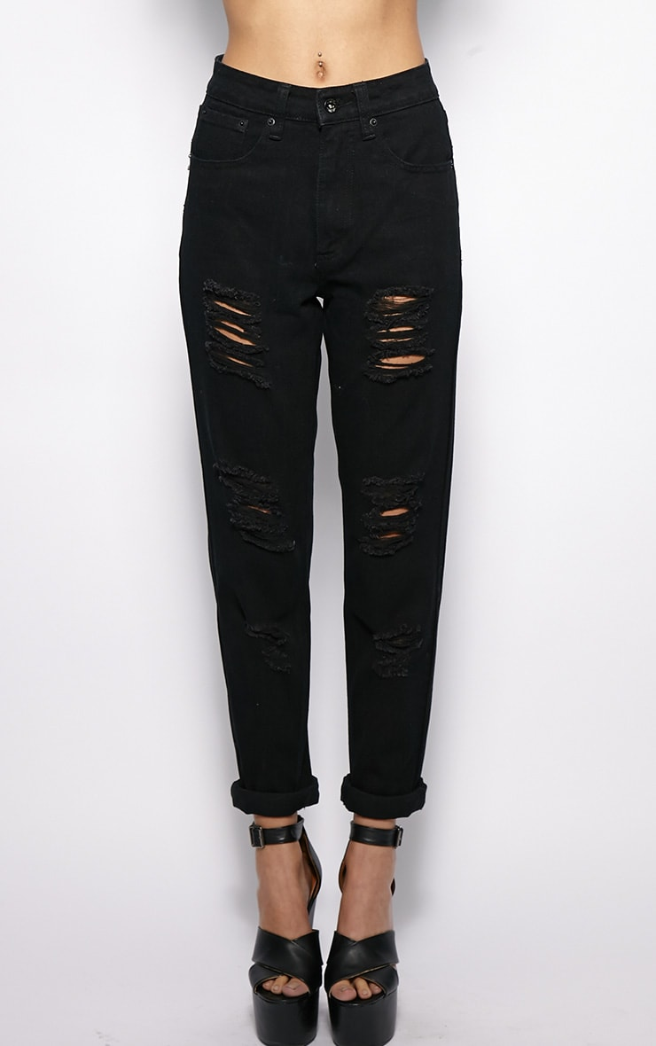 Rhianne Black Ripped Boyfriend Jeans  3