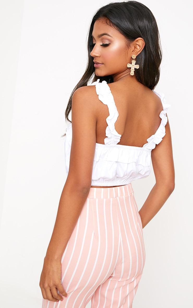 White Frill Crop Top 2