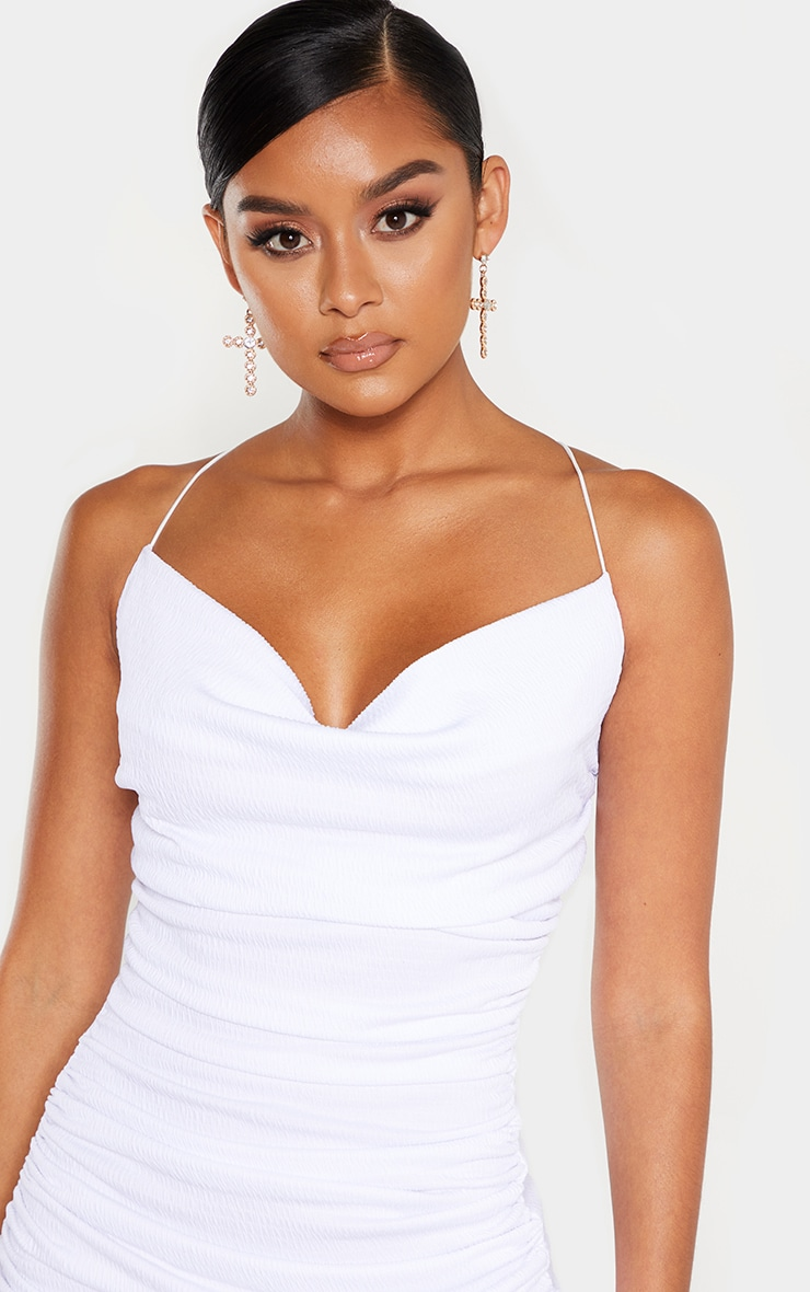 White Crinkle Texture Ruched Cowl Neck Midi Dress 5