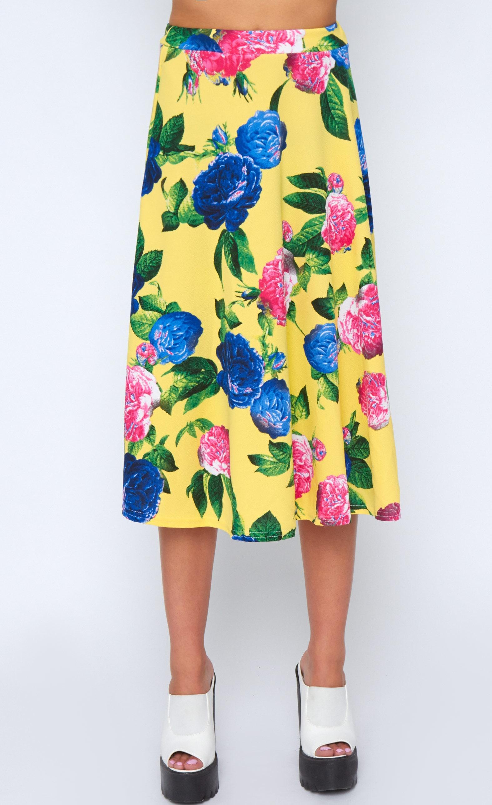 Kiera Yellow Floral Print Midi Skirt 3