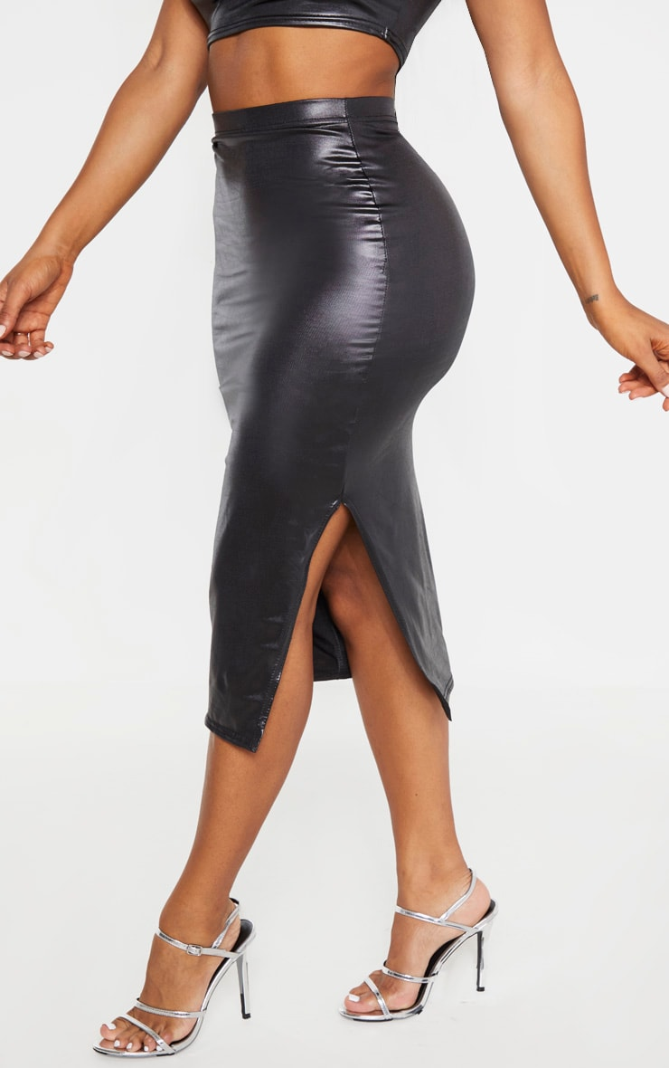 Shape Black Metallic Slinky Split Front Midi Skirt 2