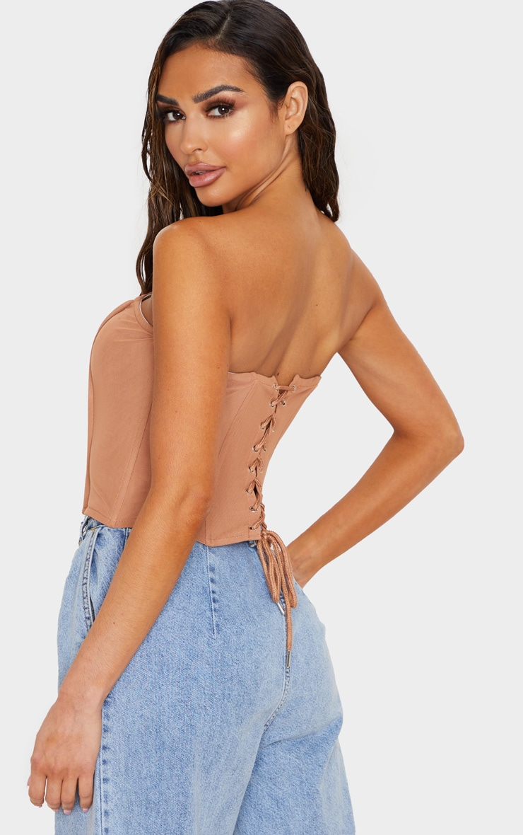 Nude Mesh Structured Lace Up Corset 2