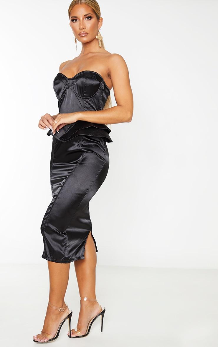 Black Satin Corset Structured Peplum Midi Dress 4