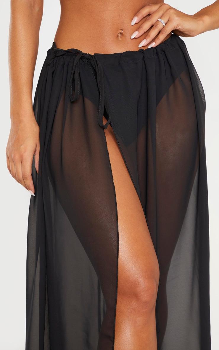 Black Adjustable Maxi Beach Skirt 4